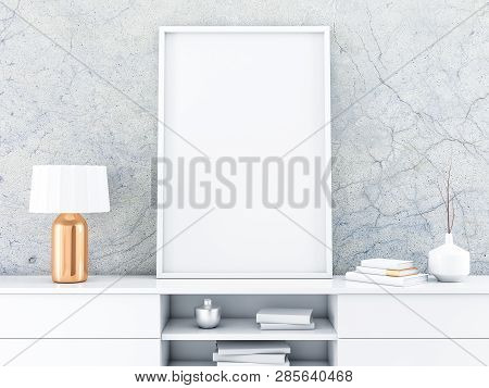 White poster Frame standing on the modern bureau with beautiful lamp. 3d rendering poster