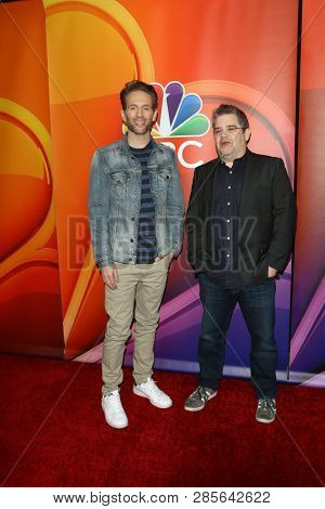 LOS ANGELES - FEB 20:  Glenn Howerton, Patton Oswalt at the NBC's Los Angeles Mid-Season Press Junket at the NBC Universal Lot on February 20, 2019 in Universal City, CA