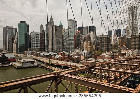 NEW YORK, NY-APRIL 27, 2011: View from Brooklyn bridge in New York City.