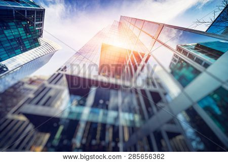 low angle view of skyscrapers, downtown, vancouver,canada.
