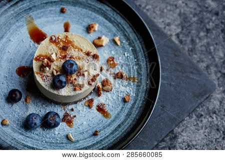 vegan dessert with nuts and blueberries