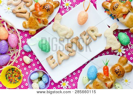 Festive Easter Dinner Table With Homemade Sweet Treats For Kids, Happy Easter Background