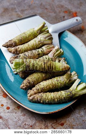 Fresh raw Wasabi roots with a grater