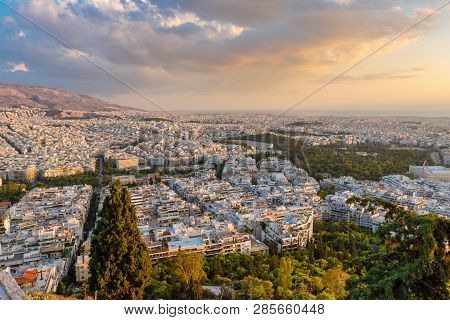 Athens, Greece - September 13, 2018:view Over The Athens In Sunset Time From Lycabettus Hill, Greece