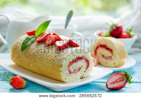 Strawberry Cake Roll Filled With Fresh Strawberry Slices And Cream Cheese, Homemade Strawberries Swi