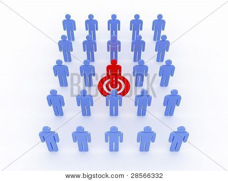 Human Target Isolated On White Background. 3D Image