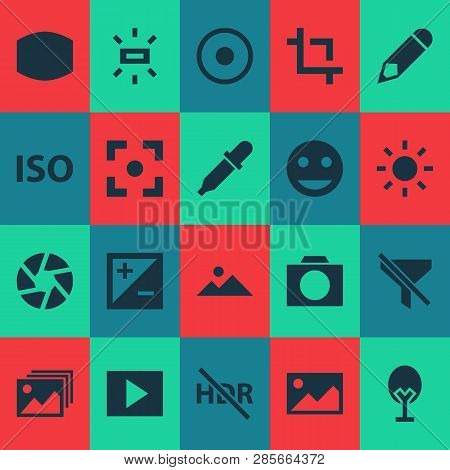 Picture Icons Set With Exposure, Shutter, Photographing And Other Mode Elements. Isolated Vector Ill