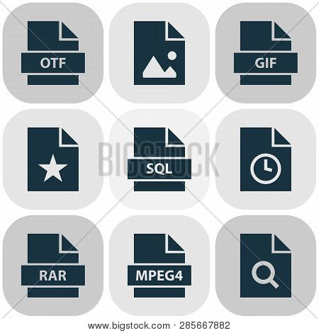 File Icons Set With Rar, Software, Favorite And Other Gif Elements. Isolated  Illustration File Icon
