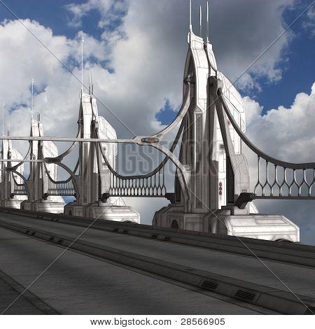 Sci-Fi Background with a bridge