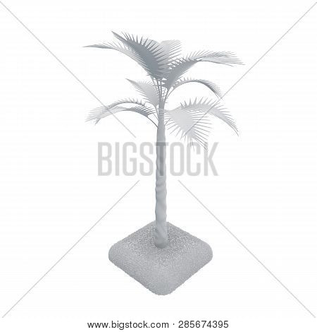 3d Rendering. A Tropical Tree In Gray Tones In Isometric Style. Three-dimensional Isolated Object