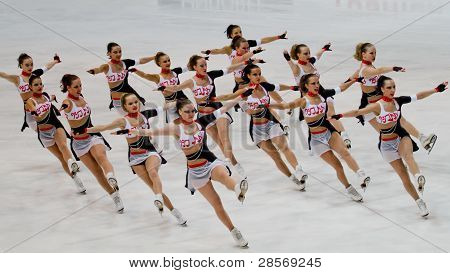Team Paradise, of Russia, competes in the 2011 World Synchronized Skating Championships