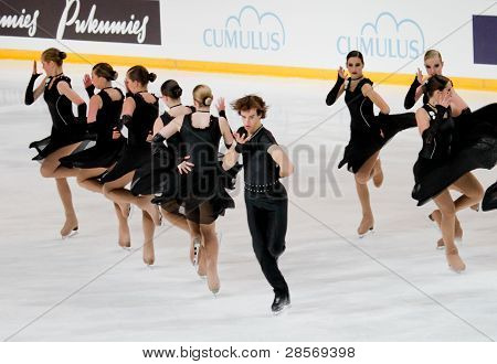 Team Temptation, of Belgium, competes in the 2011 World Synchronized Skating Championships 2011