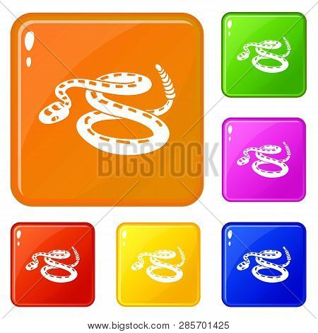 Rattlesnake Icons Set Collection Vector 6 Color Isolated On White Background