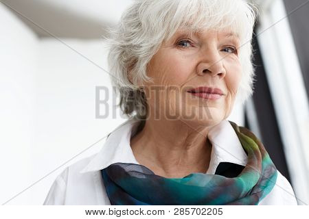Age, Maturity, Beauty, Style And Fashion Concept. Close Up Image Of Classy Stylish Senior Mature Wom