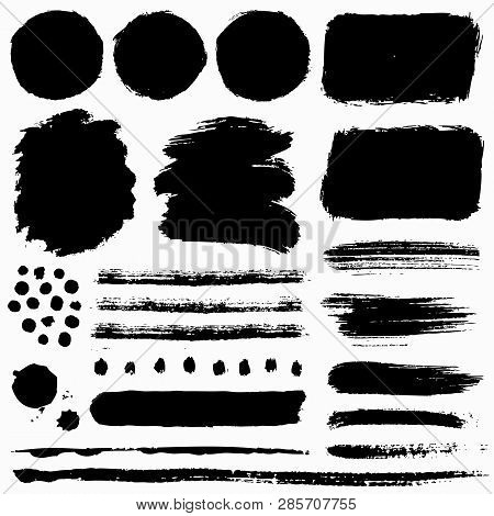 Paint Brush Strokes And Grunge Stains Isolated On White Background. Black Vector Design Elements For