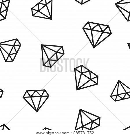 Diamond Jewel Gem Icon Seamless Pattern Background. Business Concept Vector Illustration. Jewelry Br