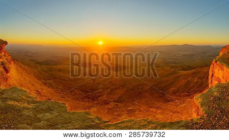 Panoramic Sunrise View Of Makhtesh (crater) Ramon, In The Negev Desert, Southern Israel. It Is A Geo