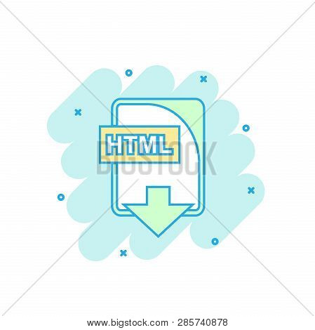 Cartoon Colored Html File Icon In Comic Style. Html Download Illustration Pictogram. Document Splash