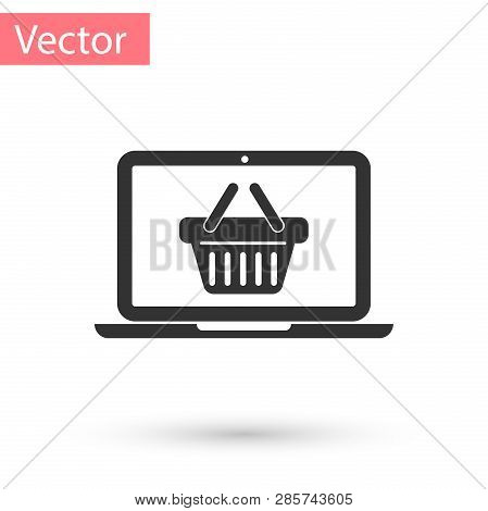 Grey Shopping Basket On Screen Laptop Icon Isolated On White Background. Concept E-commerce, E-busin