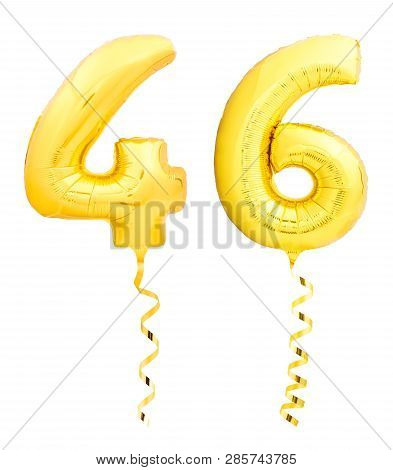 Golden Number Forty Six 46 Made Of Inflatable Balloon With Ribbon On White