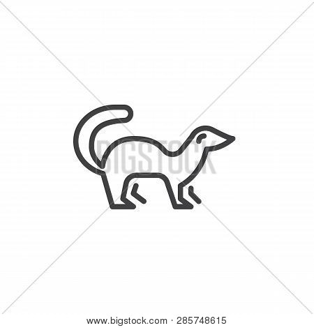 Mink Side View Line Icon. Linear Style Sign For Mobile Concept And Web Design. Marten Standing Outli