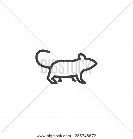 Rodent Side View Line Icon. Linear Style Sign For Mobile Concept And Web Design. Walking Rat Outline