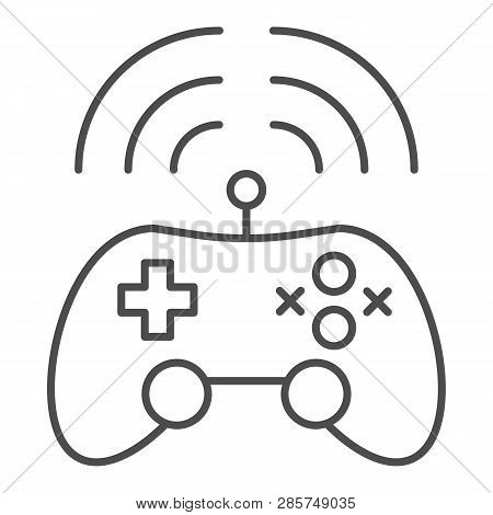 Wireless Game Controller Thin Line Icon. Joypad Vector Illustration Isolated On White. Game Console