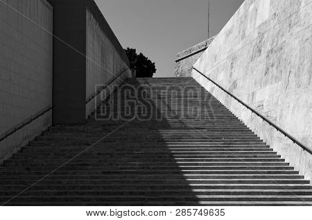 Modern Staircase In Black And White. This Staircase Is Located In Valletta Near City Gate (so-called