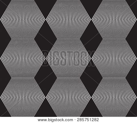 Black And Hite Seamless Texture. Web Background With Rhombs, Stars