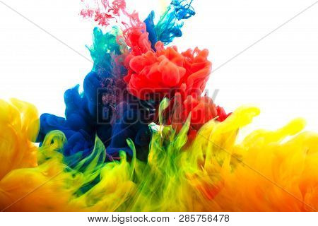 Ink In Water. Abstract Background. . Ink Swirling In Water. Ink In Water Isolated On White Backgroun