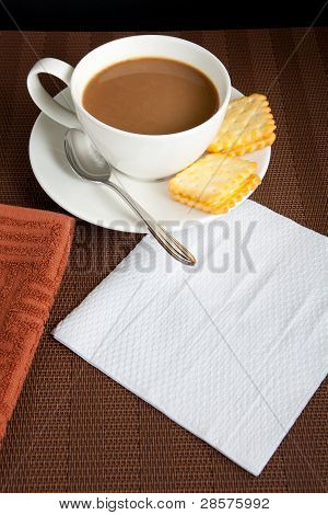 White coffee and cookies