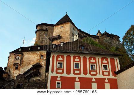 Oravsky Podzamok, Slovakia - September 10, 2018: The Beautiful Old Orava Castle
