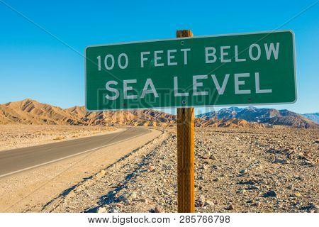 100 Feet Below Sea Level Sign Death Valley California