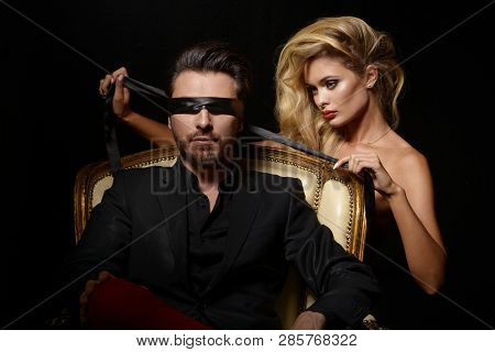 Sexy Couple Love, Blindfold Man In Suit With Sexy Blonde Woman