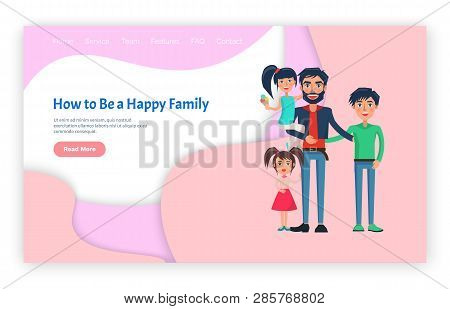 Man Holding Little Girl And Hugging Son, Pink Screen Of Website With Smiling Children And Parent. Ho