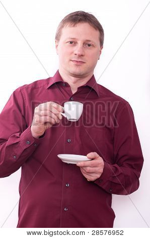 Man Is Drinking A Cup Of Espresso Coffee