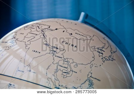 China India And South East Asia Countries Map In A Retro Old Classic Vintage Earth Globe In Executiv