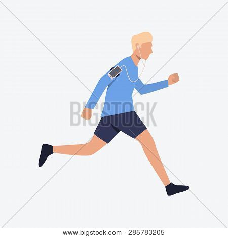 Jogger Flat Icon. Running Man, Sportsman, Earphones, Smartphone. Sport Concept. Can Be Used For Topi
