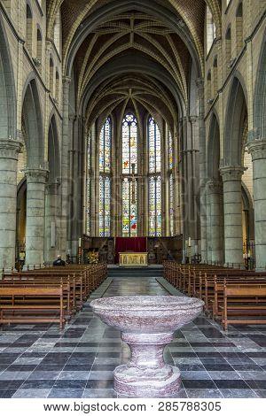 Aubel, Belgium - July 30, 2016: Val-dieu Abbey Church Interior