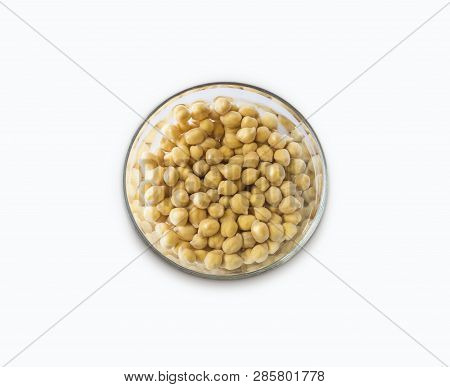 Chickpea Soaked In Water In A Bowl On A White Background. Chickpea Isolated On White Background. Chi
