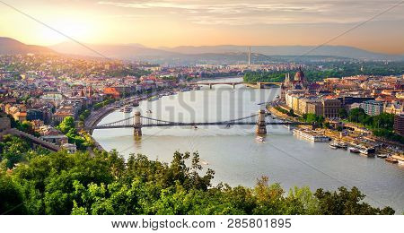 Panoramic View Of Summer Budapest At Sunset