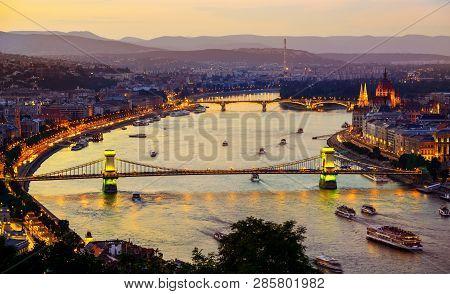 Illumination Of Budapest City In Summer Evening