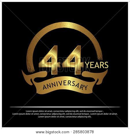Forty Fouryears Anniversary Golden. Anniversary Template Design For Web, Game ,creative Poster, Book