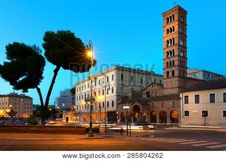 Bell Tower Of Santa Maria In Cosmedin On The Street Of Rome