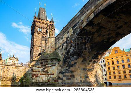 View On Charles Bridge And Staromestska Tower From Below
