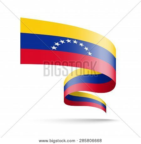 Venezuela Flag In The Form Of Wave Ribbon.