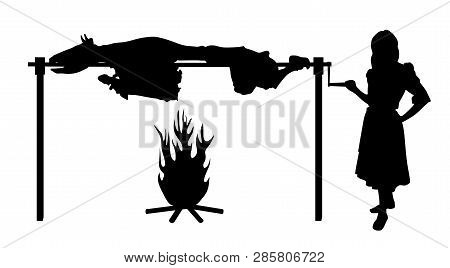 Woman Roasting Ox On Spit. Isolated White Background. Eps File Available.
