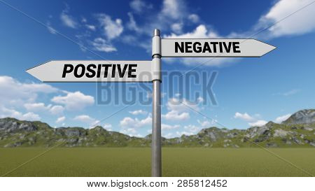 Way Choice Showing Strategy,positive Negative, 3d Rendering