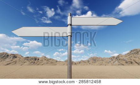 Way Choice Showing Strategy Blank Sign, 3d Rendering