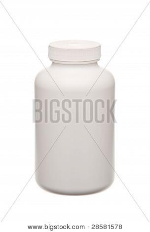 Weisse Pillen Container isoliert auf weiss